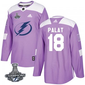 Men's Adidas Tampa Bay Lightning Ondrej Palat Purple Fights Cancer Practice 2020 Stanley Cup Champions Jersey - Authentic