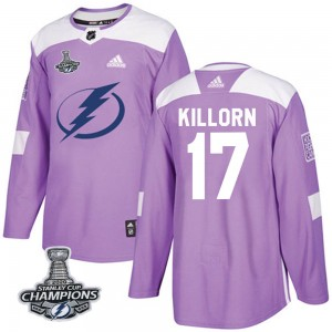 Youth Adidas Tampa Bay Lightning Alex Killorn Purple Fights Cancer Practice 2020 Stanley Cup Champions Jersey - Authentic